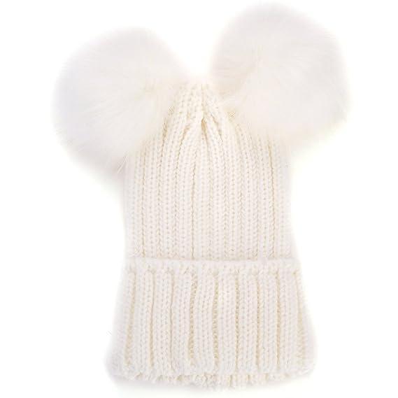 BOZEVON Mujeres Moda Mantener Caliente Invierno Sombreros de Punto Gorro de Lana  Artificial Hemming Linda b40f1f7f8ec