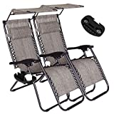 Unihome Zero Gravity Lounge Chair Reclining for Patio Beach Outdoor Camping Pool Yard Set of Pair (Grey)