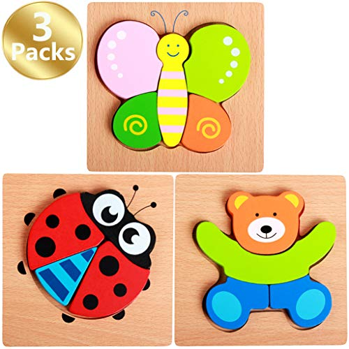 Zocita 3-Pack Cartoon Animal Series Wooden Jigsaw Puzzle Sets, 5.8x5.8in