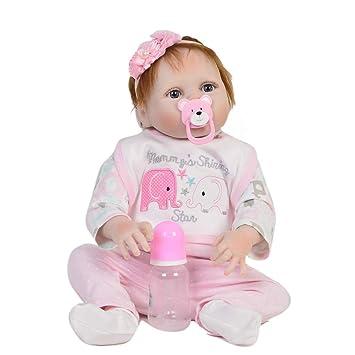 FWBB Reborn bebé Realista Reborn Bebé Linda muñeca 95% Traje de muñeca de algodón, niños de 22 Pulgadas / 55 cm El Mejor Juguete de Regalo para bebés/niños ...