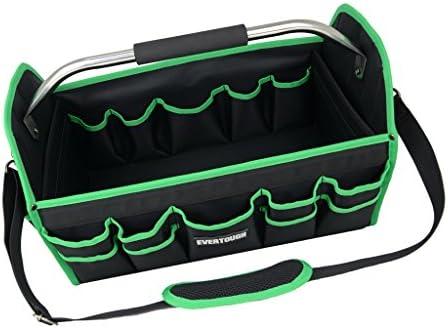 F Fityle オープントップ 19 インチ 作業工具 バッグ ハンディーマン 修理士 配管ツール ストレージ - 緑+黒