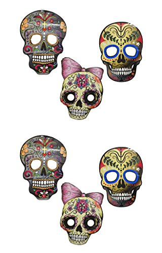 Set of 6 Deluxe Sugar Skull Masks! 3 Styles! Large and Tasteful! Perfect for Party Favors, Parties, Parades, Costumes, Halloween, Masquerade and - Jim Sugar