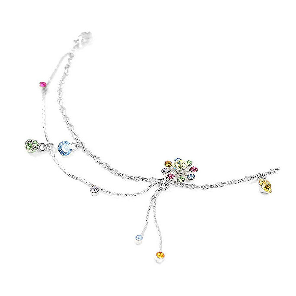 Glamorousky Elegant Flower Anklet with Multi-color Austrian Element Crystals (1814) Glamorousky-1000001814
