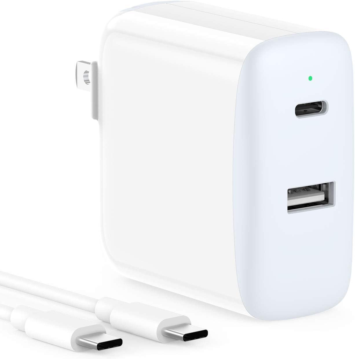 30W 2 Port with 18W USB C Fast Charger Compatible for iPad Pro 12.9 Gen 4/3 2020/2018, Pro 11 Gen 2/1, Air 4, Pixel 4/3, Pixel 2 XL Pixel 3A XL 2XL 3XL 4XL, Foldable Plug, LED, 6.6ft USB C to C Cord