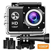 #LightningDeal 77% claimed: Action Camera 1080P 12MP Sports Camera Full HD 2.0 Inch Action Cam 30m/98ft Underwater Waterproof Camera and Mounting Accessories Kit (Black)