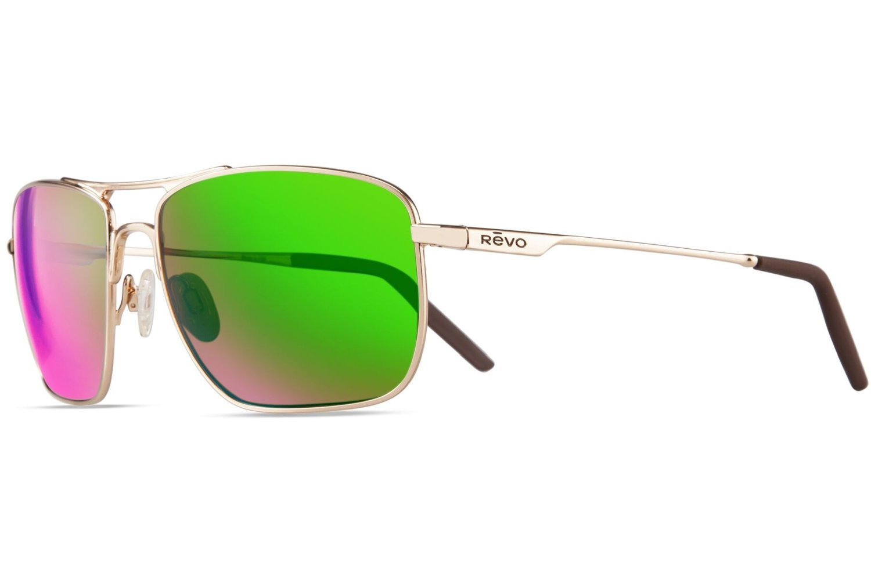 Revo Re 3089gf Groundspeed Navigator Polarized Aviator Sunglasses, Gold Green Water, 59 mm