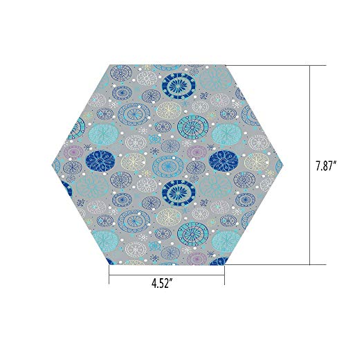 Shiv Snow (iPrint Hexagon Wall Sticker,Mural Decal,Doodle,Abstract Snowflakes with Beige Background Winter Celebration Theme Christmas Decorative,Beige Aqua Blue,for Home Decor 4.52x7.87 10 Pcs/Set)