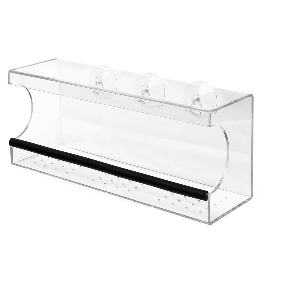 BS Garden Bird Feeder Tray Mounted For Windows Top Cover 3 Suction Cups House Durable and Lightweight Clear See-Through Acrylic Cardinals Juncos Doves Chickadees Jays Finches