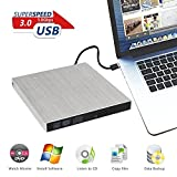 External DVD Drive USB 3.0, OfficeWinner Aluminum Portable CD DVD +/-RW Drive Slim DVD/CD Rom Rewriter Burner Writer, for Laptop, Macbook Pro, Macbook Air Support Mac OSX Windows Vista/7/8/10, Silver