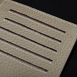 Teemzone Men Women Credit Card Case Business Id Card Holder Genuine Leather (K828-Khaki)