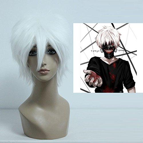 Price comparison product image Mcoser 30CM Short Anime Gin Tama/DEATH NOTE-Sakata Gintoki/Near Cosplay Wig (White)