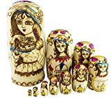 Perfect Mother's Day Gift Exquisite Beautiful Lady With Flower Hats Handmade Wooden Russian Nesting Dolls Matryoshka Dolls Set 10 Pieces For Kids Toy Birthday Christmas Gift Home Decoration