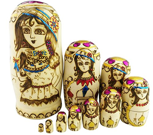 Exquisite Beautiful Lady With Flower Hats Handmade Wooden Russian Nesting Dolls Matryoshka Dolls Set 10 Pieces For Kids Toy Birthday Home Decoration