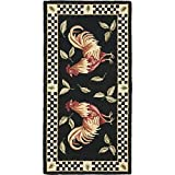 D&H 2'6'' x5' Black Ivory Red Rooster Checkered Chessboard Printed Runner Rug, Indoor Animal Pattern Living Room Rectangle Carpet, Graphic Art Themed, Vibrant Color Soft Wool Colorful Rich Design