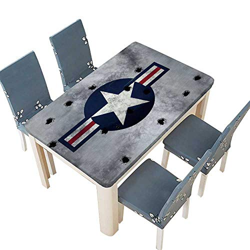 PINAFORE Decorative Tablecloth Great Image USAF Star Roundel on Metal with Bullet Holes Assorted Size W49 x L88.5 INCH (Elastic Edge)