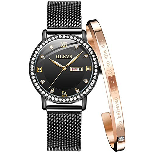 Black Watches for Women Waterproof Watch Women Quartz Analog Ladies Watches Calendar Luxury Rhinestone dial Day Date Fashion Female Wrist Watch Black Mesh Steel with Rose Gold Bracelet Set