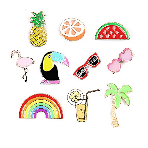 Summer Rainbow Brooch Flamingo Pins Enamel Lapel Pins Sets Novelty Plant Animal Fruit Brooches for Clothing Bags Backpacks Jackets Hat -