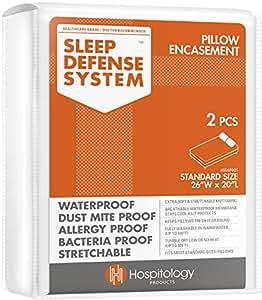 The Original Sleep Defense System - Waterproof / Bed Bug / Dust Mite Proof - PREMIUM Zippered Pillow Encasement & Hypoallergenic Protector, Set of 2, 20-Inch by 26-Inch, Standard