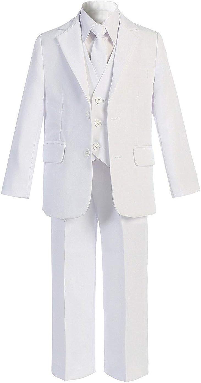 BANHADA Toddler Boys Formal 5 Piece Slim Fit Suit Set with Matching Necktie