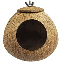 OMEM Bird Coconut House,Hamster House,Coconut Shells can Fixed in Bamboo, Birdcages, Hamster Cages (L)