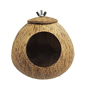 OMEM Bird Coconut House,Hamster House,Coconut Shells can Fixed in Bamboo, Birdcages, Hamster Cages (L) 102