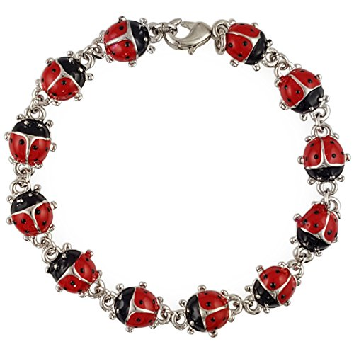TRENDY CUTE RED ENAMEL LADYBUG CHAIN LINK BRACELET WOMEN'S FASHION -