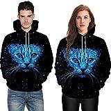 POHOK HOT!Men Women Long Sleeve Shirts,Mode 3D Cat Print Couples Hoodies Top Blouse
