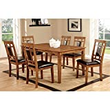 Furniture of America Lazio 7-Piece Transitional Dining Set, Light Oak