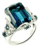 Sterling Silver 925 STATEMENT Ring GENUINE LONDON BLUE TOPAZ 18.07 Carats with RHODIUM-PLATED Finish (10)