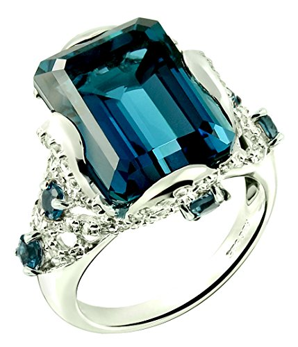 Sterling Silver 925 STATEMENT Ring GENUINE LONDON BLUE TOPAZ 18.07 Carats with RHODIUM-PLATED Finish (10) by RB Gems