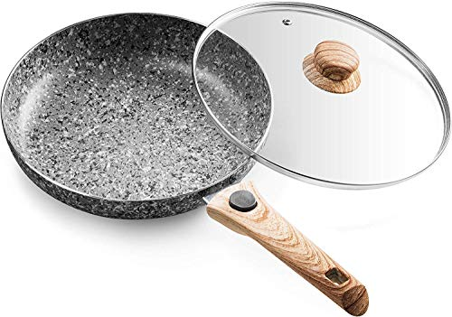 Mitbak 10-Inch Non-Stick Frying Pan with Lid | Granite Coating Nonstick Skillet Pan with Removable Heat-Resistant Handle | Premium Cooking & Kitchen Utensil | Induction Compatible