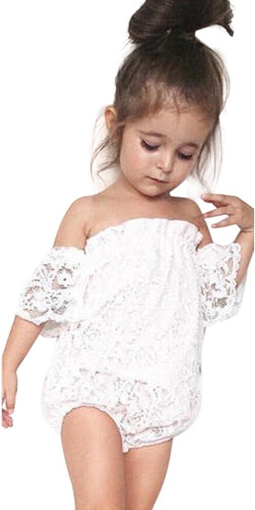 Carolui Toddler Infant Baby Girl Off-Shoulder Romper Summer Flower Lace Sunsuit Jumpsuit Clothes