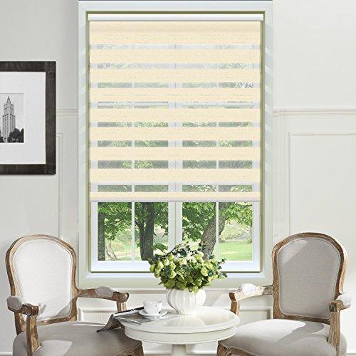 PASSENGER PIGEON Zebra Window Blinds, Premium Light Filtering Horizontal Dual Layer, Cord Loop Linen Color Window Shades, 25