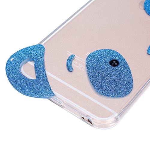 Funda iPhone 6 plus/6S plus 5.5 pulgadas,SainCat Moda Alta Calidad suave de TPU Silicona Suave Funda Carcasa Caso Parachoques Diseño pintado Patrón para Carcasas TPU Silicona Flexible Candy Colors Ult Panda azul del brillo