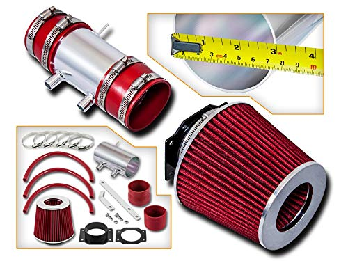 (Rtunes Racing Short Ram Air Intake Kit + Filter Combo RED For 99-04 Nissan Frontier/Xterra V6 & Supercharged)