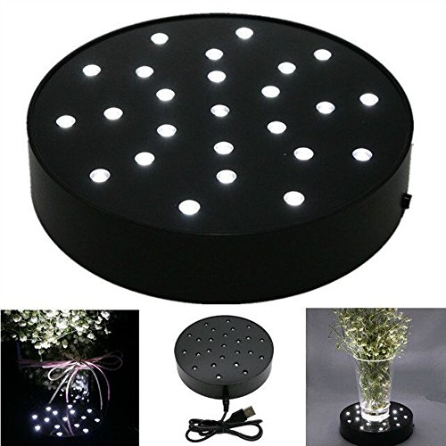 LACGO Wedding Party Acrylic Round LED Vase Base Plate Light, with 25 Bright White LED Lights, USB&Battery-powed, for Home, Display Stand Table Centerpiece Decor(Black Case)(Pack of 1) (Stand Vase Black)