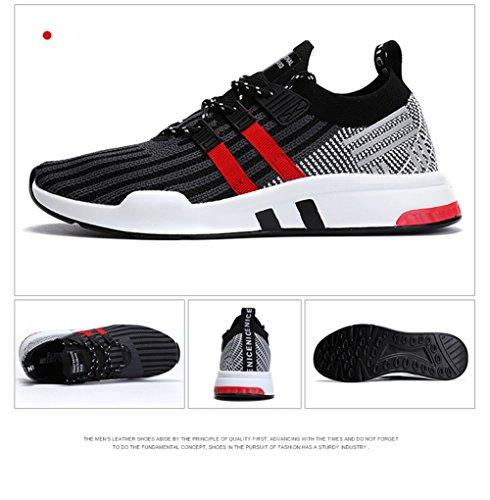 TUOKING Chaussures de Course Pour Hommes Chaussures de Jogging Chaussettes Légères Chaussures Baskets Respirantes Mode Chaussures de Marche Occasionnels Noir Rouge 5VrdQLG