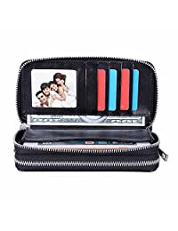 HAWEE Big Size Long Wallet for Woman Dual Zippered Clutch Purse Premium PU 5 Credit Card Slot 1 Smart Phone Slot 1 Coin Purse and Ample Compartments for Cash and Note, Black-Crazy Horse