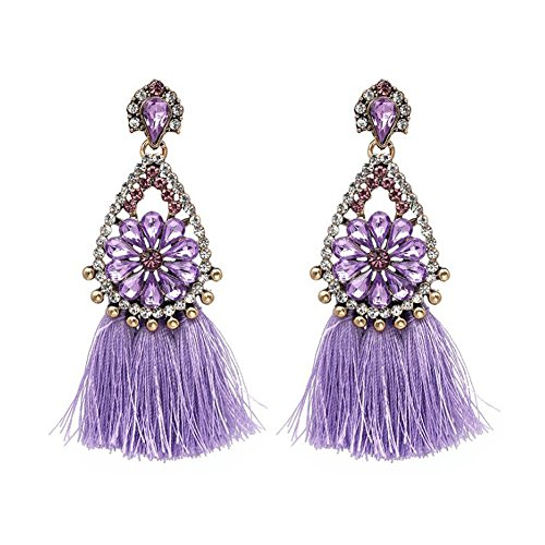 Crystal Earrings Flower Drop (Starshiny Crystal Flower Ball Dangle Earrings Tassel Drop Earring Ear Stud Women Charm Jewelry (Crystal-purple))