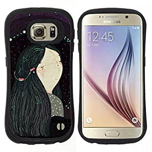 "Hypernova Slim Fit Dual Barniz Protector Caso Case Funda Para Samsung Galaxy S6 [Chica de pelo Negro Arte Pintura""]"