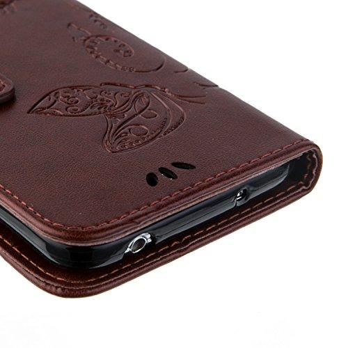 SRY-Funda móvil Samsung Samsung Galaxy S5 Mini funda, caja de la caja de la mariposa en relieve de las flores caso de la caja de la contraportada de la cartera caja de folio retro de color sólido para Brown