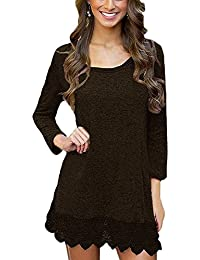 Women's Long Sleeve A-Line Lace Stitching Trim Casual Dress