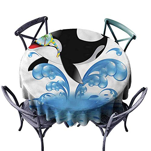 FANOEWI Creative Round Tablecloth Funny Whale with Sunglasses Buffet Table,Parties,Holiday Dinner,Wedding,Picnic,Patio,Kitchen,Dining,Family Room ()