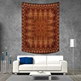 smallbeefly Antique Tapestry Table Cover Bedspread Beach Towel Vintage Lacy Persian Arabic Pattern from Ottoman Empire Palace Carpet Style Art Dorm Decor Beach Blanket 70W x 93L INCH Orange Brown