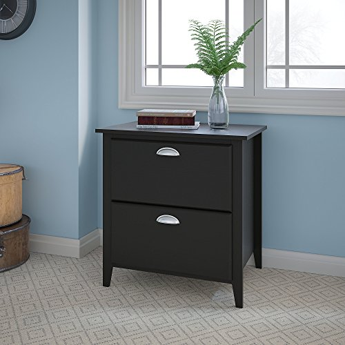 kathy ireland Home by Bush Furniture Connecticut Lateral File in Black Suede Oak