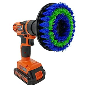 "Medium 5"" Drill Brush Attachment: Beast Brush Spin Power Scrubber For Fast And Easy Cleaning, Medium Bristles For Bathroom Shower And Tub, Kitchen Tiles, Carpet, Car Tires, Auto Detailing, Boats"