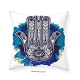 VROSELV Custom Cotton Linen Pillowcase Hamsa Ethnic Decor Hamsa Hand of Fatima Good Luck Symbol Oriental Ornament Meditation Bedroom Living Girls Boys Room Dorm Accessories Pink Blue White 18''x18''