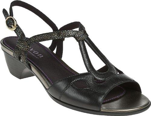 Aravon Women's Serena T-Strap Sandals, Black, 8 M/B