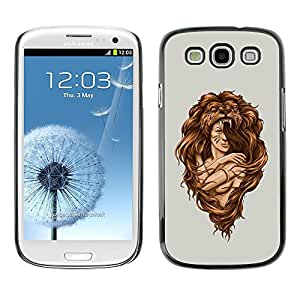Caucho caso de Shell duro de la cubierta de accesorios de protección BY RAYDREAMMM - Samsung Galaxy S3 I9300 - Amazon Woman Warrior Lion Wild Nature Art