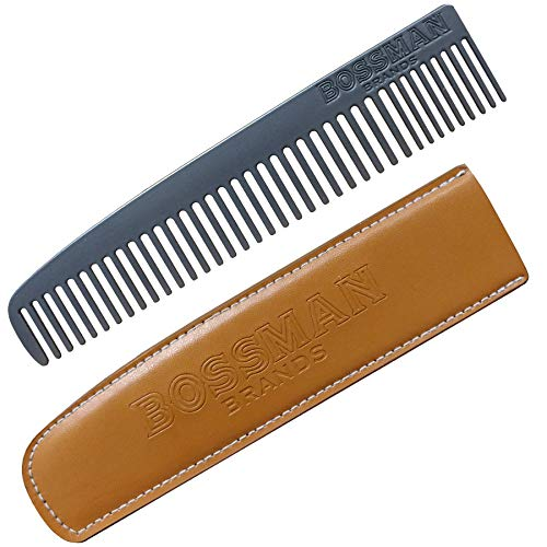 Bossman Powder Coated Metal Beard & Mustache Comb, Patent Pending Design Eliminates Snagging of Hairs for a Smooth Glide